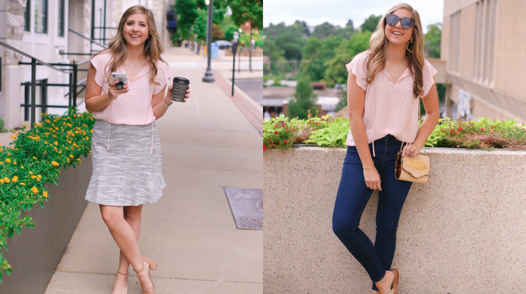 Day To Night Outfit: Pink Blouse