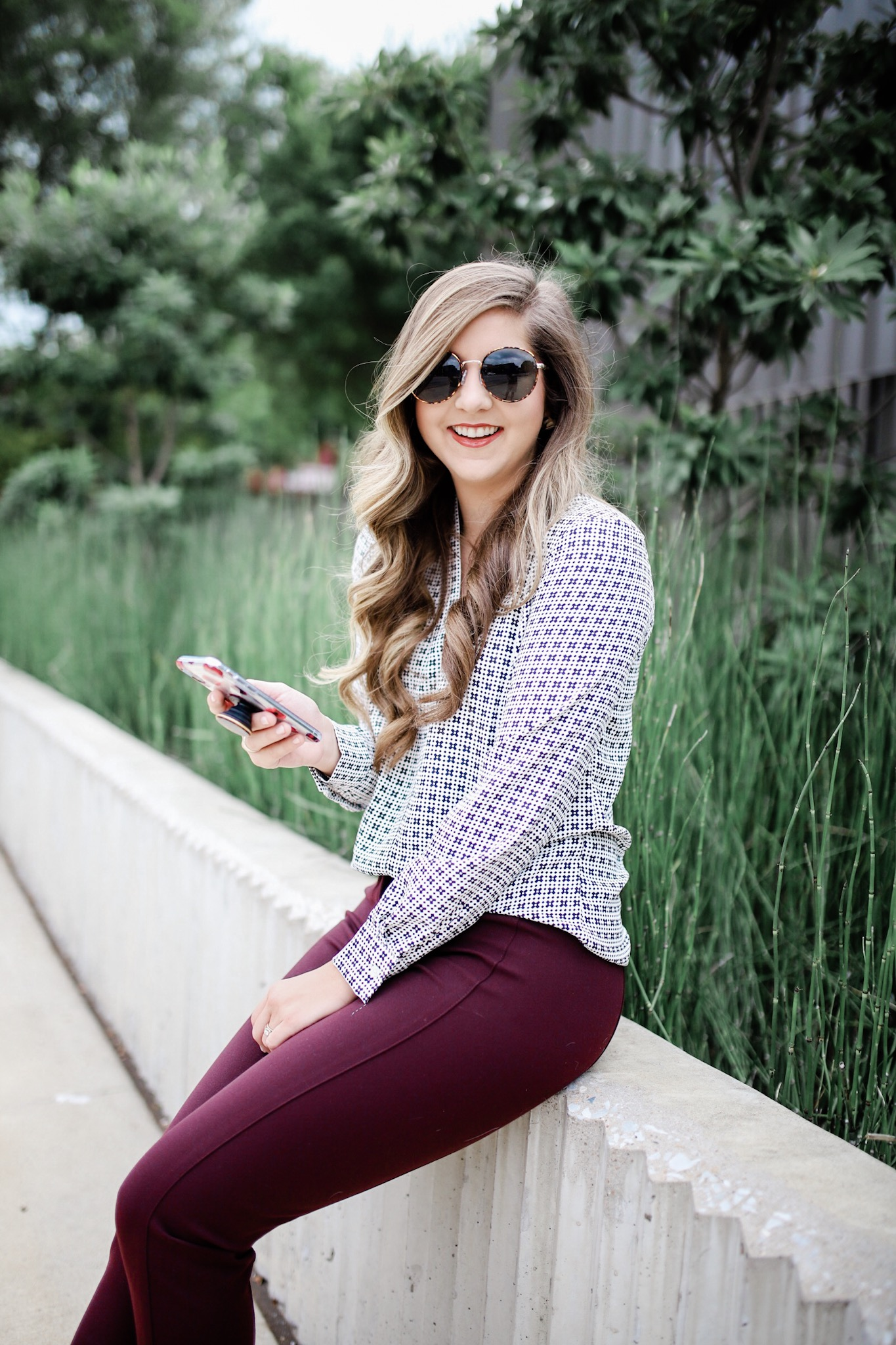 Fall Workwear Outfit Inspiration With Maroon Pants