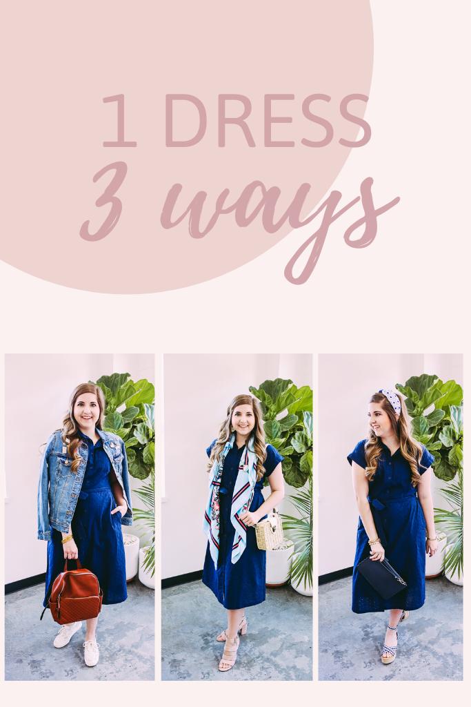 Navy Midi Dress Styled 3 Ways